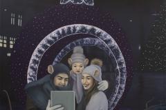 Božićni selfi, ulje na platnu, 110x110cm, 2020.