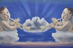 Religio transformata-Angeli adaptati,  oil on canvas, 140x50cm, 2021